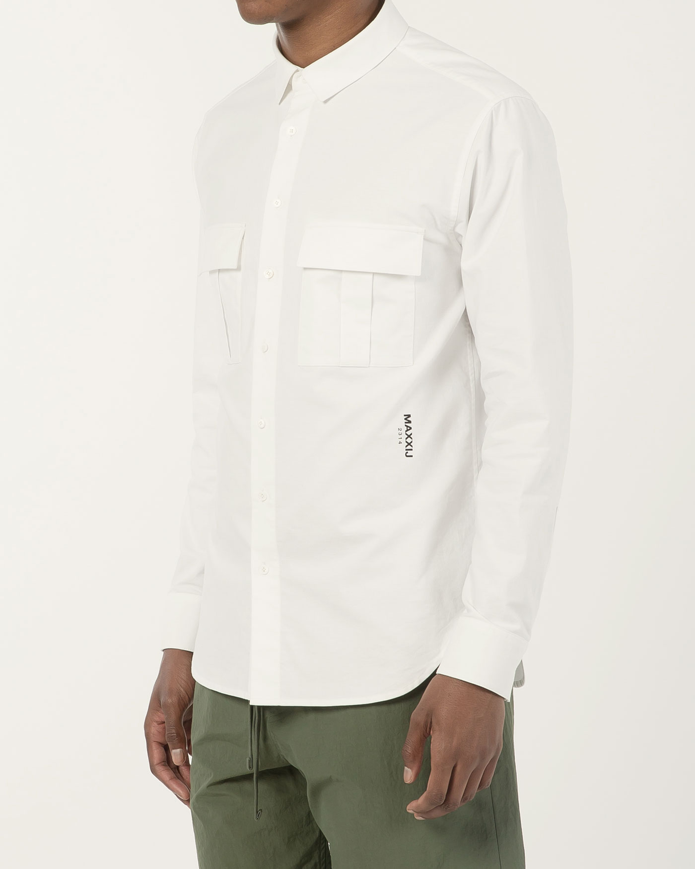 Military Button Down Oxford Shirt White