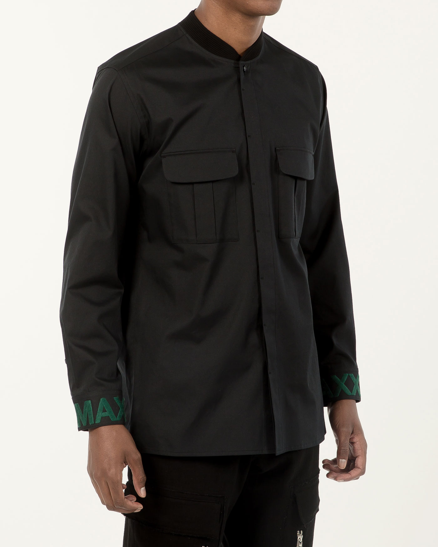 Military Bomber Neck Shirt with Cuff Embroidered Dark Navy